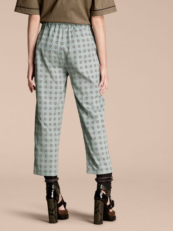 Pyjama Print Cropped Silk Cotton Pyjama-style Trousers in Pale Stone Blue - cell image 2