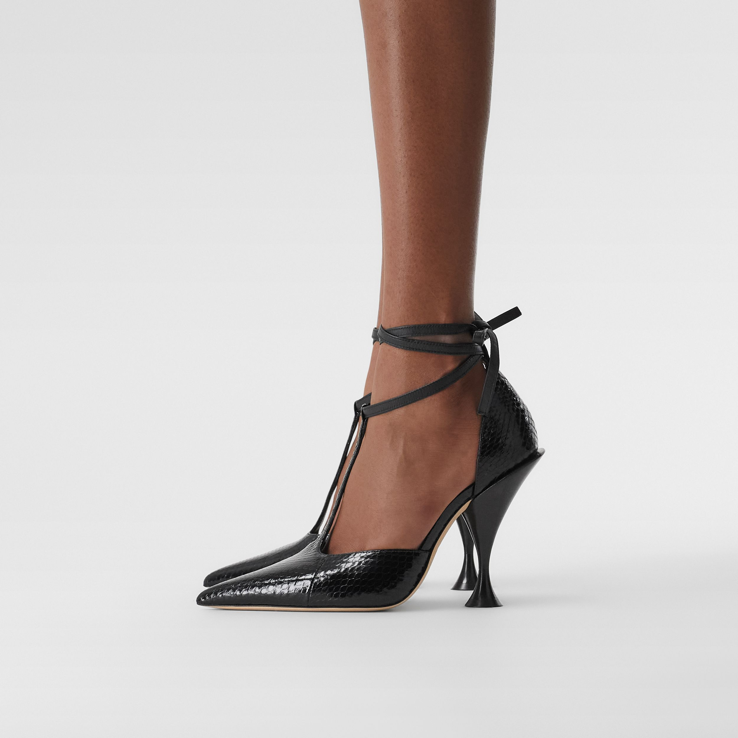 Snakeskin and Leather Point-toe Pumps in Black - Women | Burberry - 3