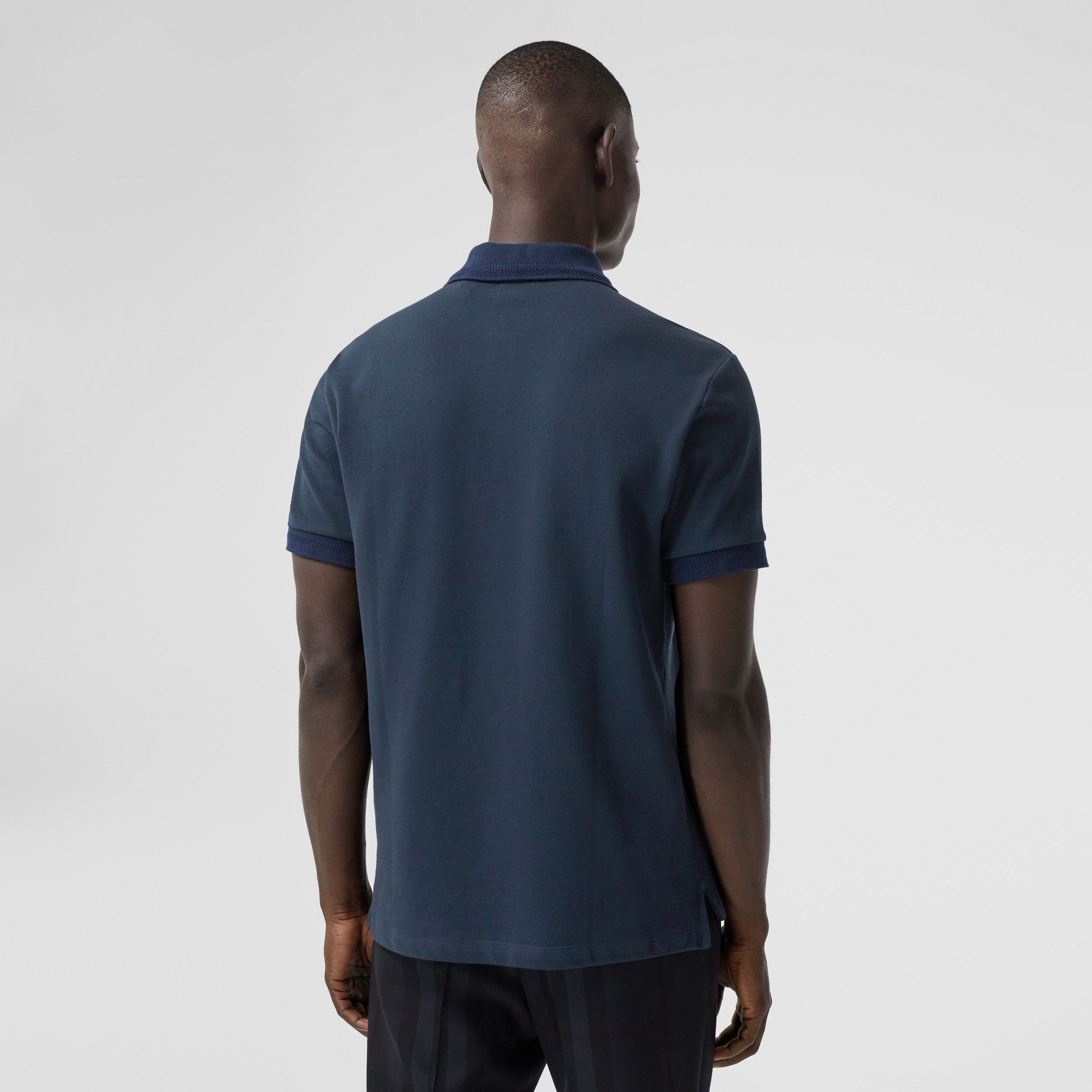 Button Detail Cotton Piqué Polo Shirt in Navy - Men | Burberry - 3