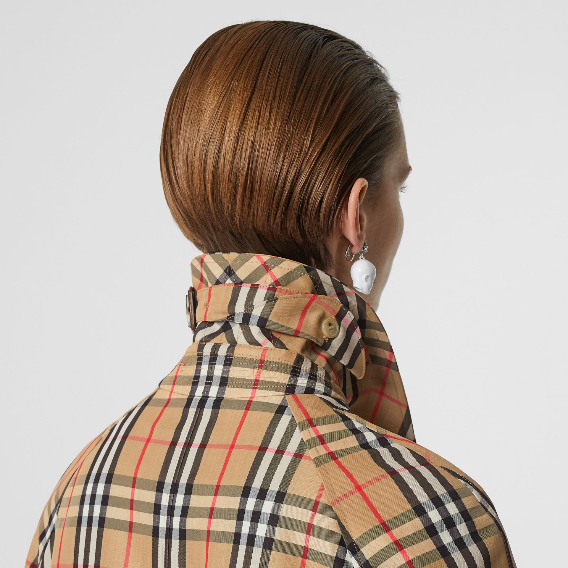 Vintage Check Nylon Belted Car Coat in Archive Beige - Women | Burberry - gallery image 6
