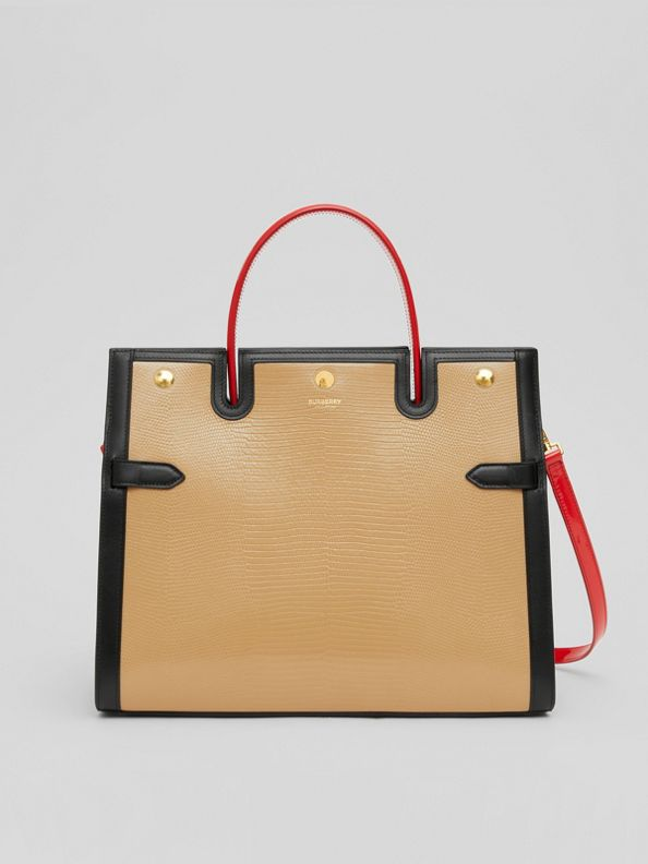 Medium Embossed Leather Title Bag in Honey