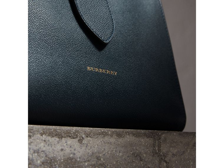 The Medium Buckle Tote in Grainy Leather in Blue Carbon - cell image 1