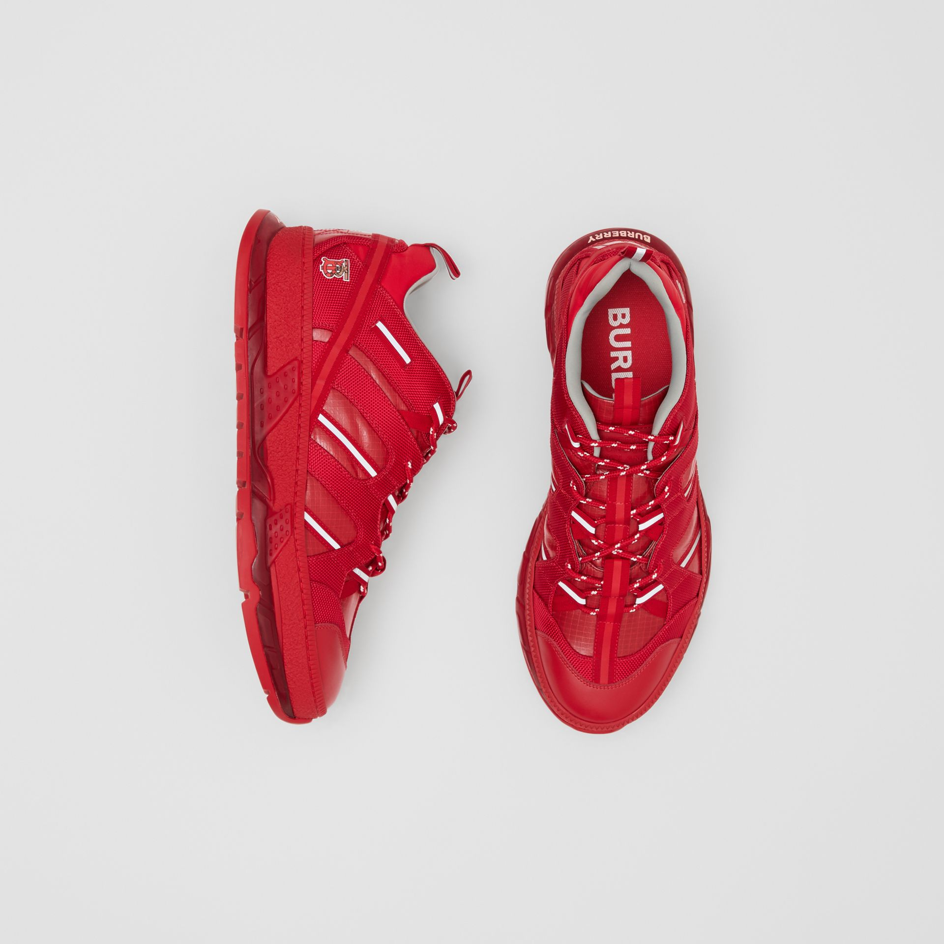 Nylon and Leather Union Sneakers in Bright Red - Women | Burberry - gallery image 0