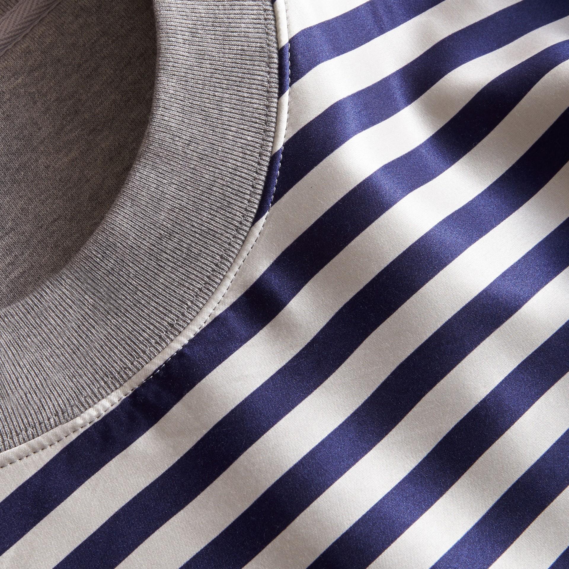 Unisex Striped Silk Cotton Panel Sweatshirt - gallery image 2