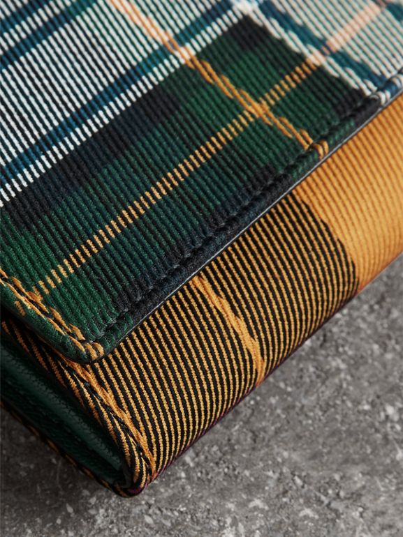 Tartan Cotton and Leather Wallet with Chain in Green/multicolour - Women | Burberry - cell image 1