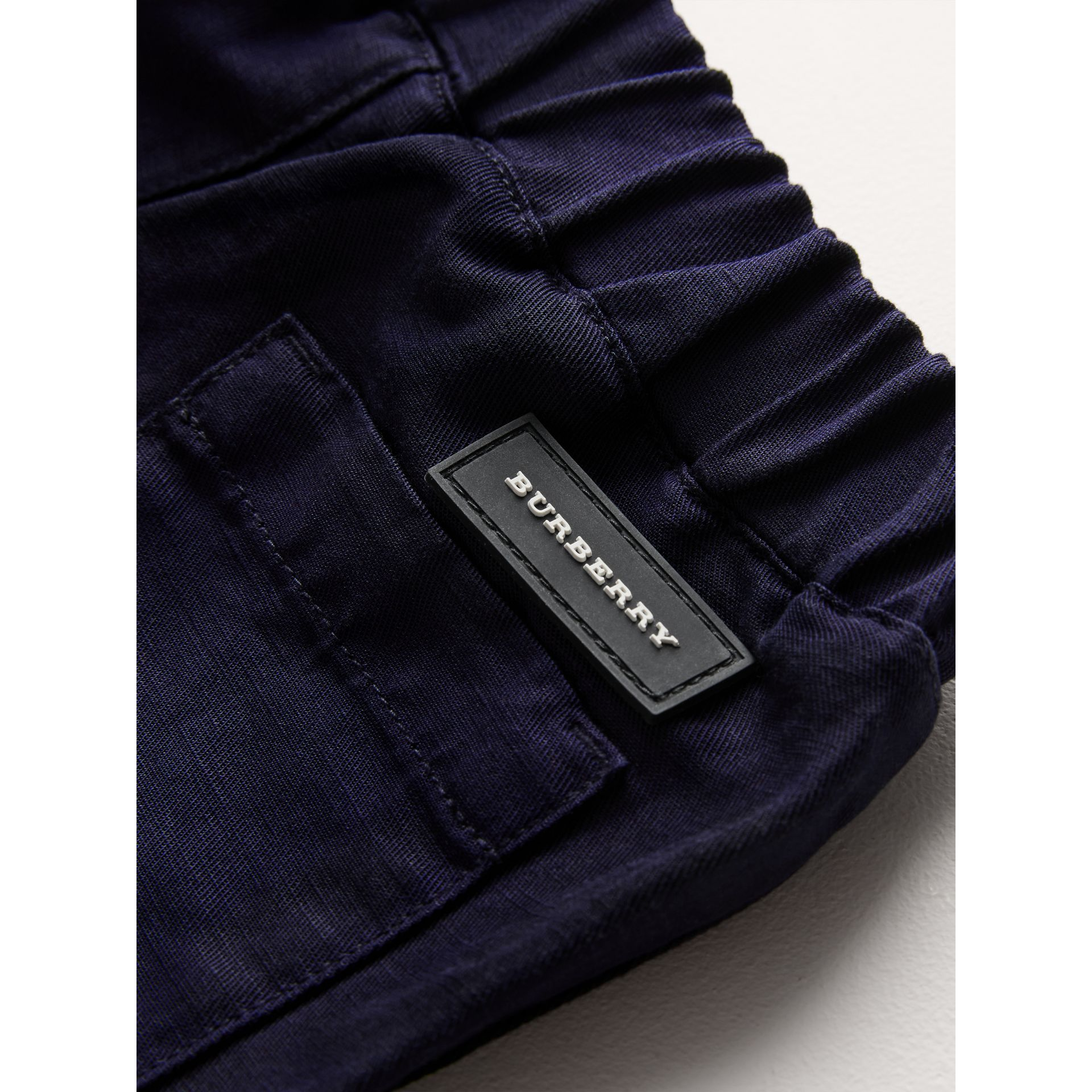 Cotton Linen Drawcord Trousers in Navy | Burberry - gallery image 1
