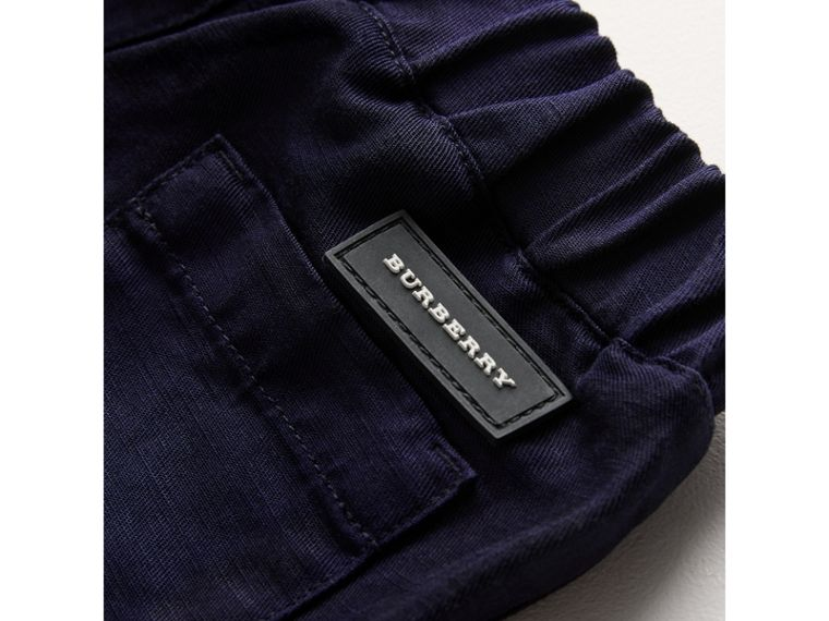 Cotton Linen Drawcord Trousers in Navy | Burberry - cell image 1