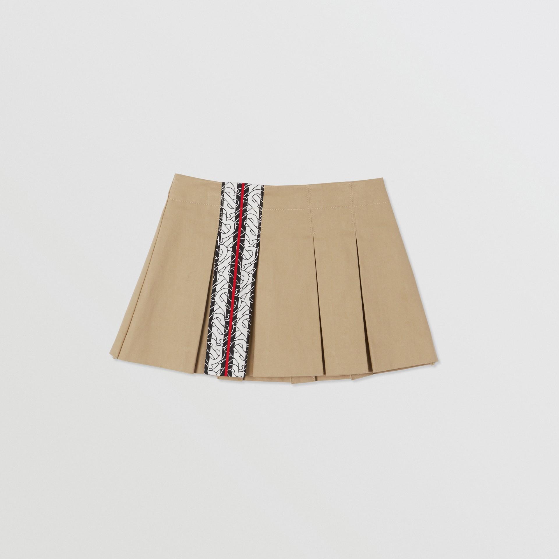 Monogram Stripe Print Box-pleated Cotton Skirt in Honey - Children | Burberry Australia - gallery image 0