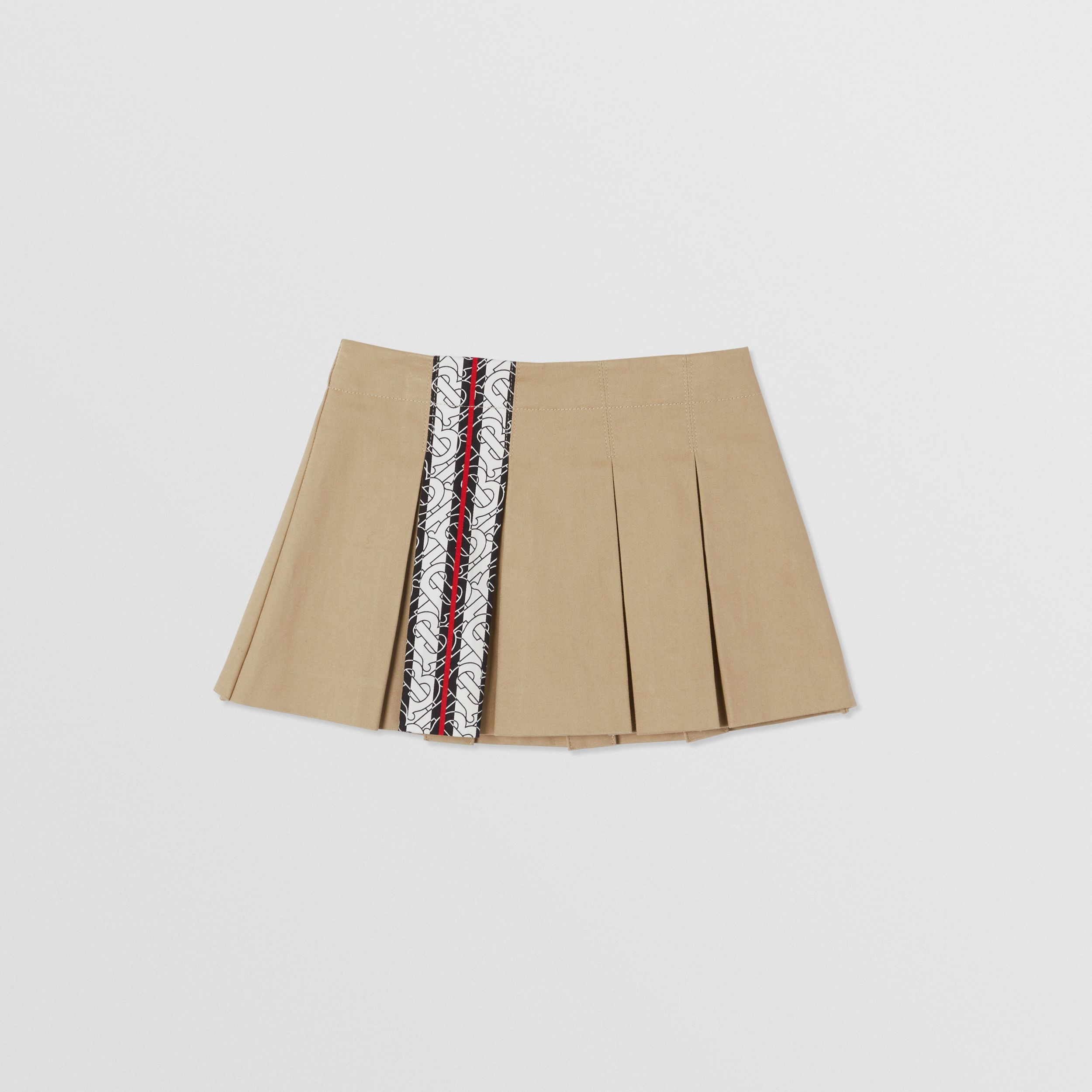 Monogram Stripe Print Box-pleated Cotton Skirt in Honey - Children | Burberry - 1