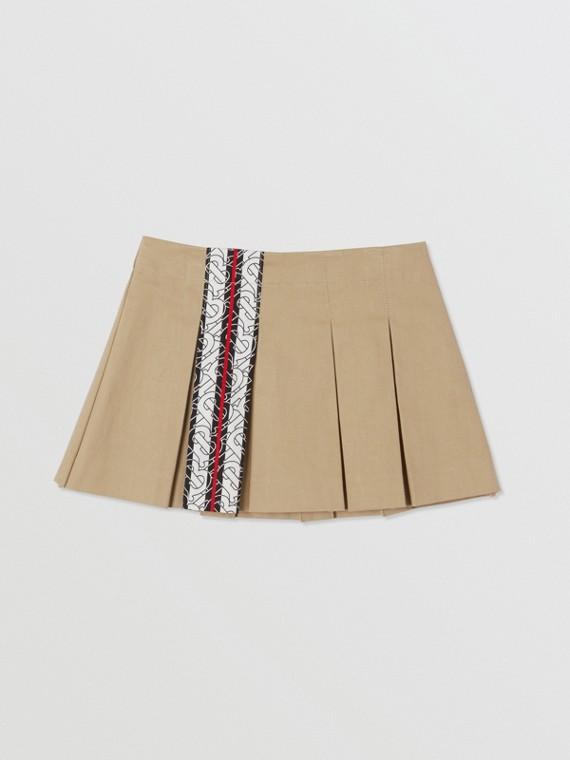 Monogram Stripe Print Box-pleated Cotton Skirt in Honey