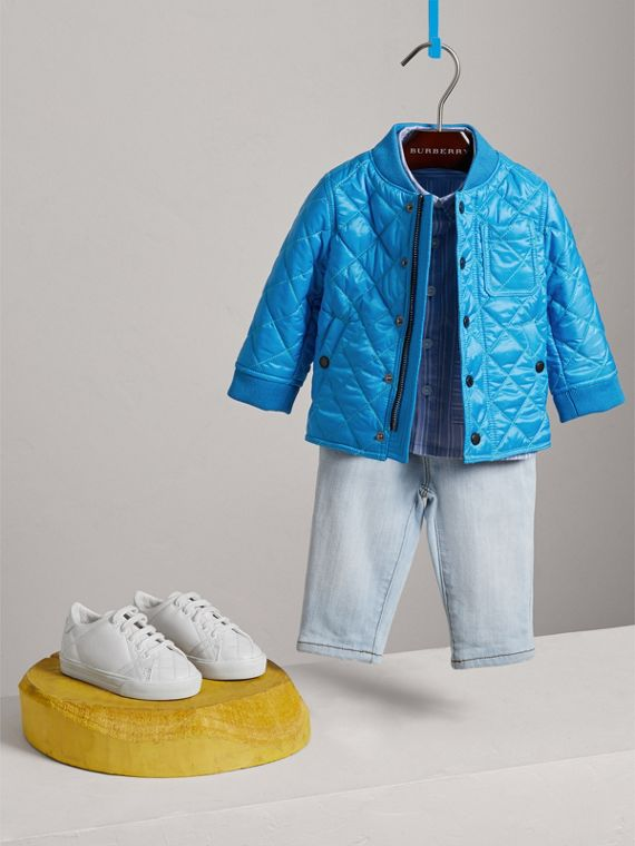 Topstitched Quilted Jacket in Cyan Blue | Burberry Singapore - cell image 2