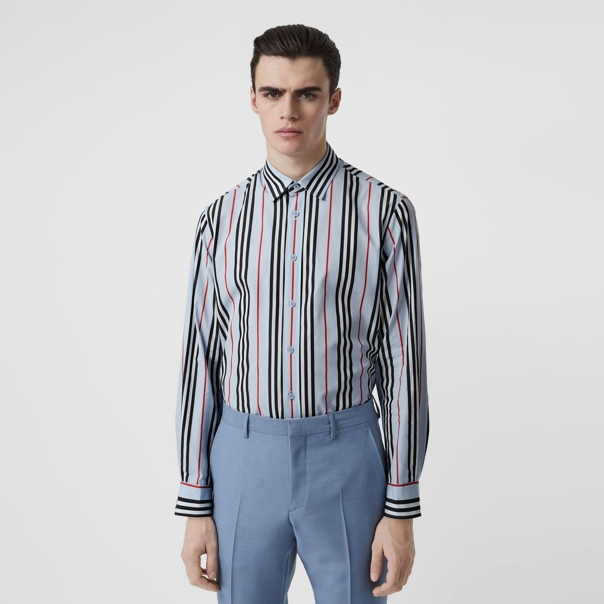 Icon Stripe Cotton Poplin Shirt in Pale Blue - Men | Burberry United States - gallery image 0