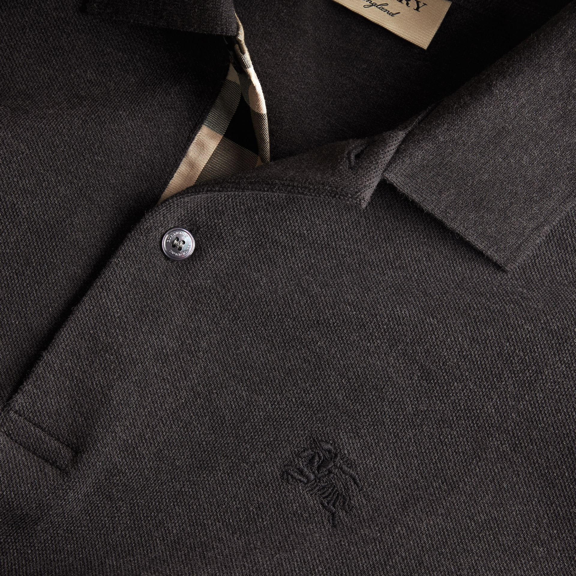 Check Placket Cotton Piqué Polo Shirt in Dark Charcoal Melange - gallery image 2