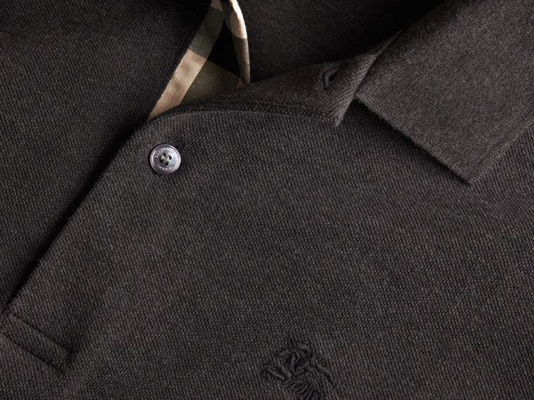 Check Placket Cotton Piqué Polo Shirt in Dark Charcoal Melange - cell image 1
