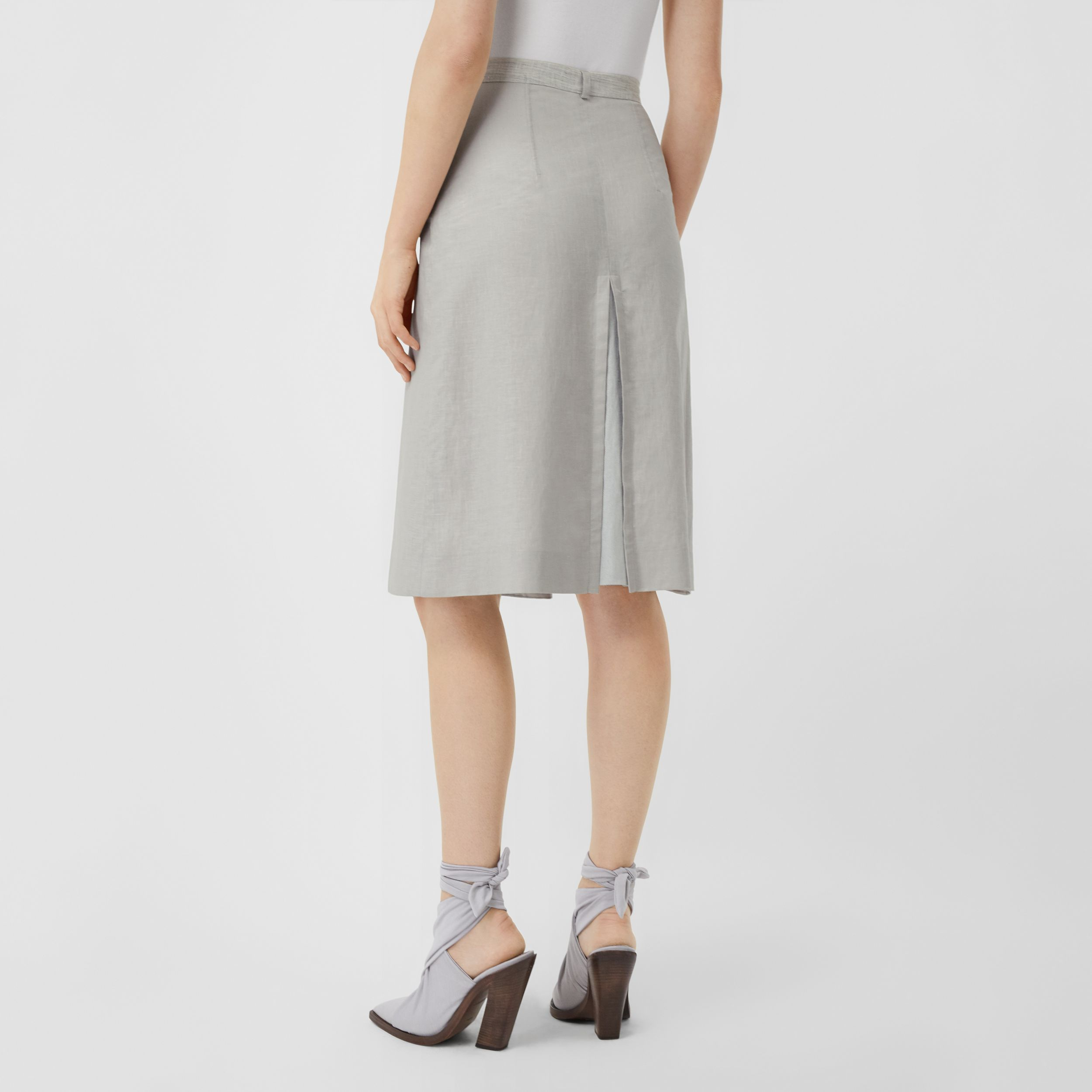 Crystal Embroidered Box-pleat Detail Linen A-line Skirt in Grey Melange - Women | Burberry - 3
