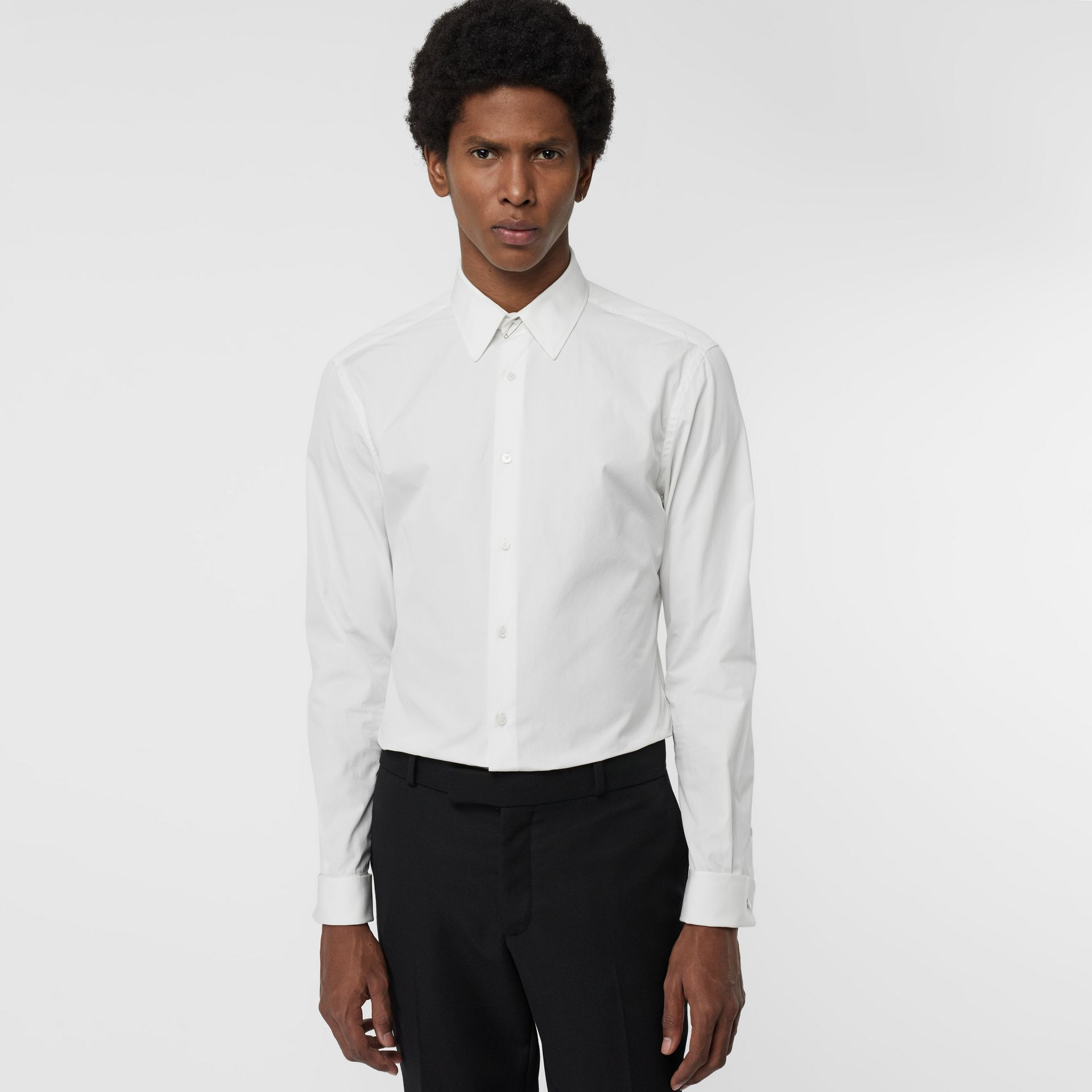 Slim Fit Double Cuff Cotton Poplin Shirt in White - Men | Burberry United Kingdom - gallery image 4