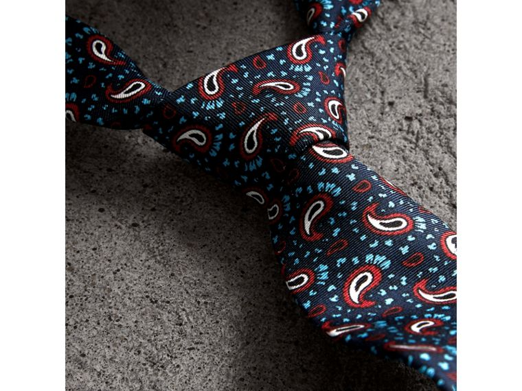 Slim Cut Paisley Silk Twill Tie in Navy - Men | Burberry Singapore - cell image 1