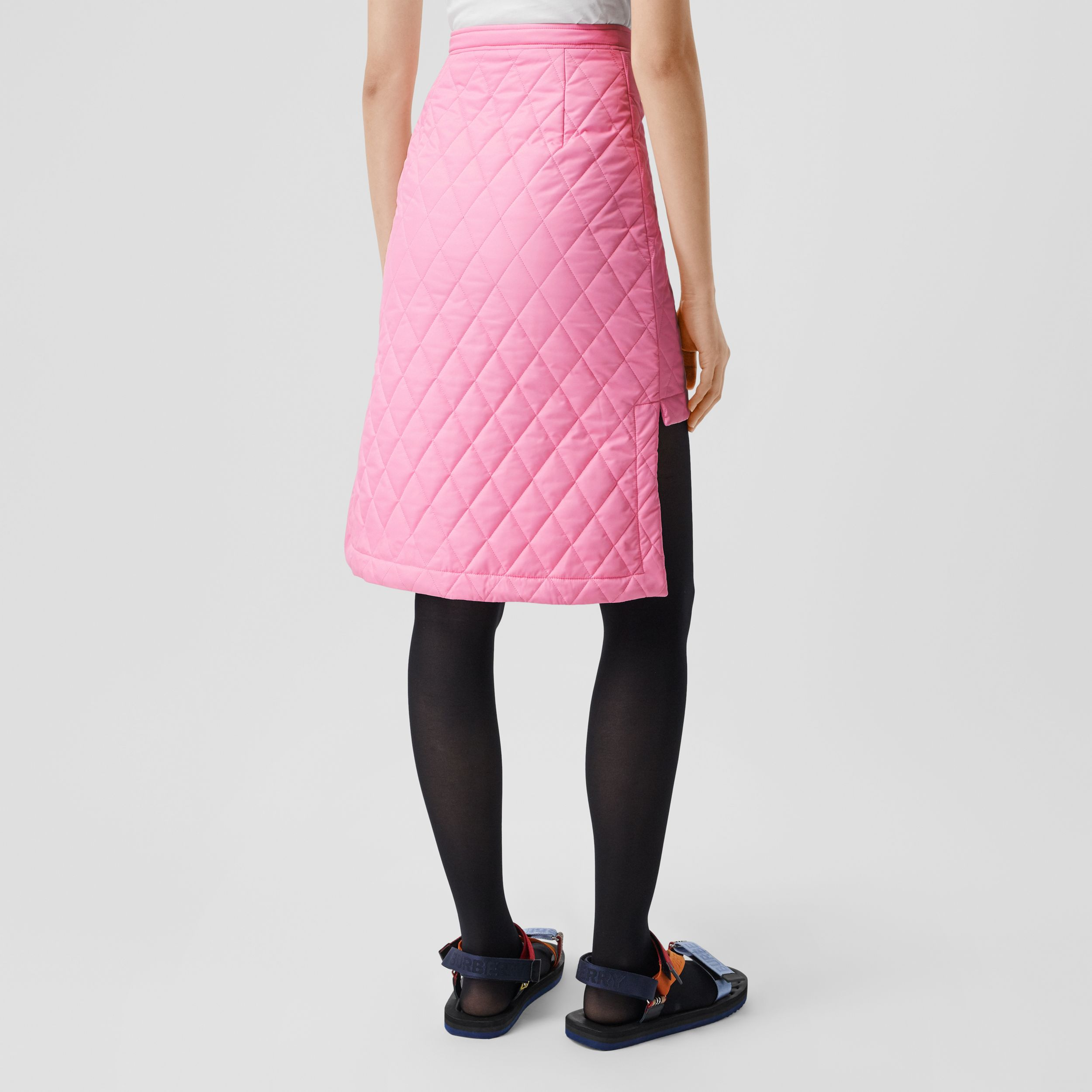 Asymmetric Diamond Quilted Skirt in Bubblegum Pink - Women | Burberry - 3