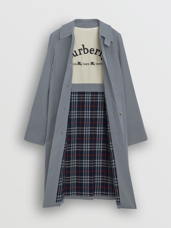 Archive Logo-lined Tropical Gabardine Car Coat in Dusty Blue - Men | Burberry Singapore - cell image 3