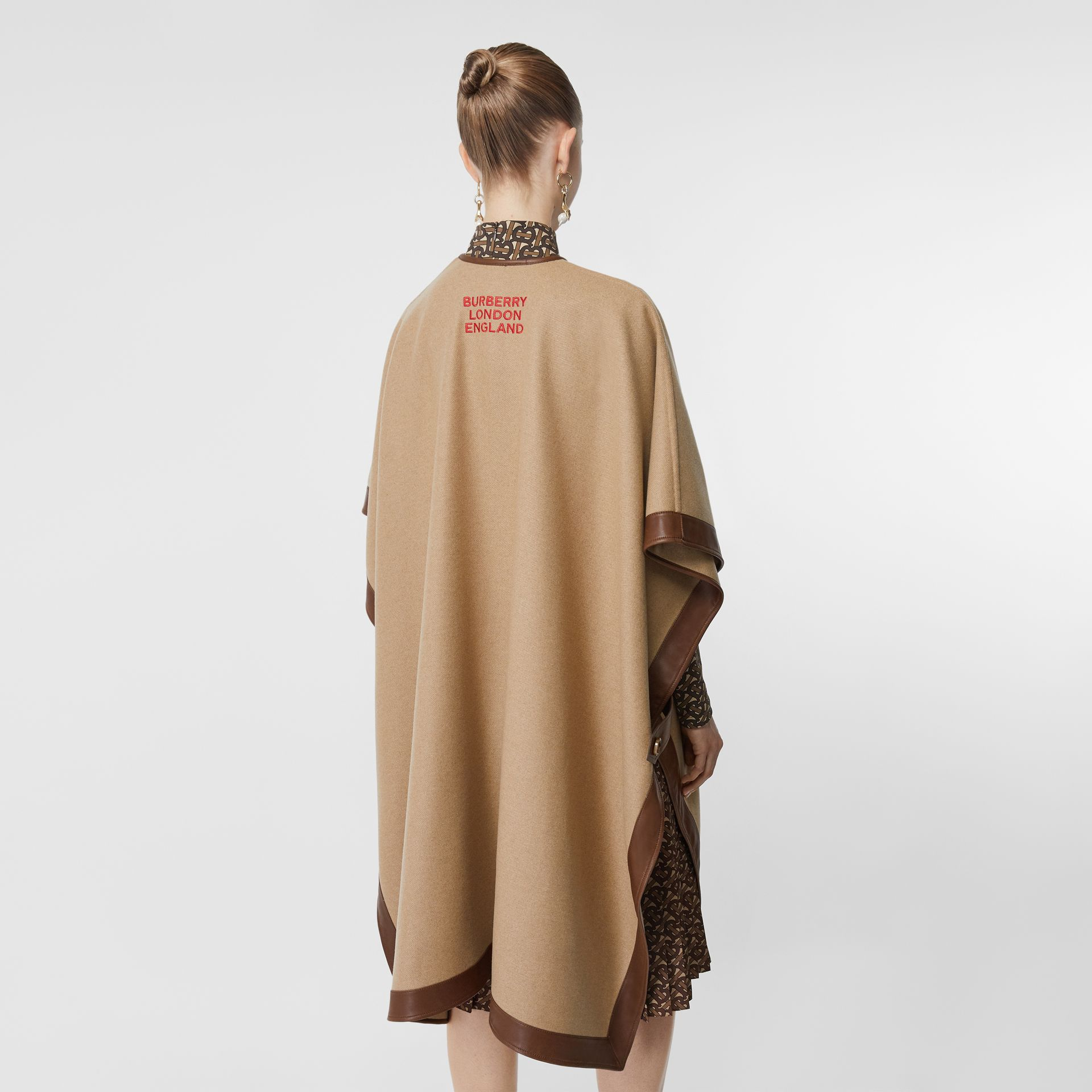 Lambskin Trim Double-faced Cashmere Cape in Camel | Burberry United Kingdom - gallery image 2
