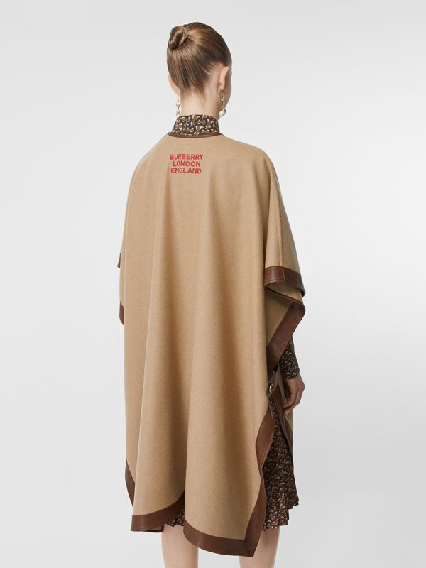 Lambskin Trim Double-faced Cashmere Cape in Camel | Burberry United Kingdom - cell image 2