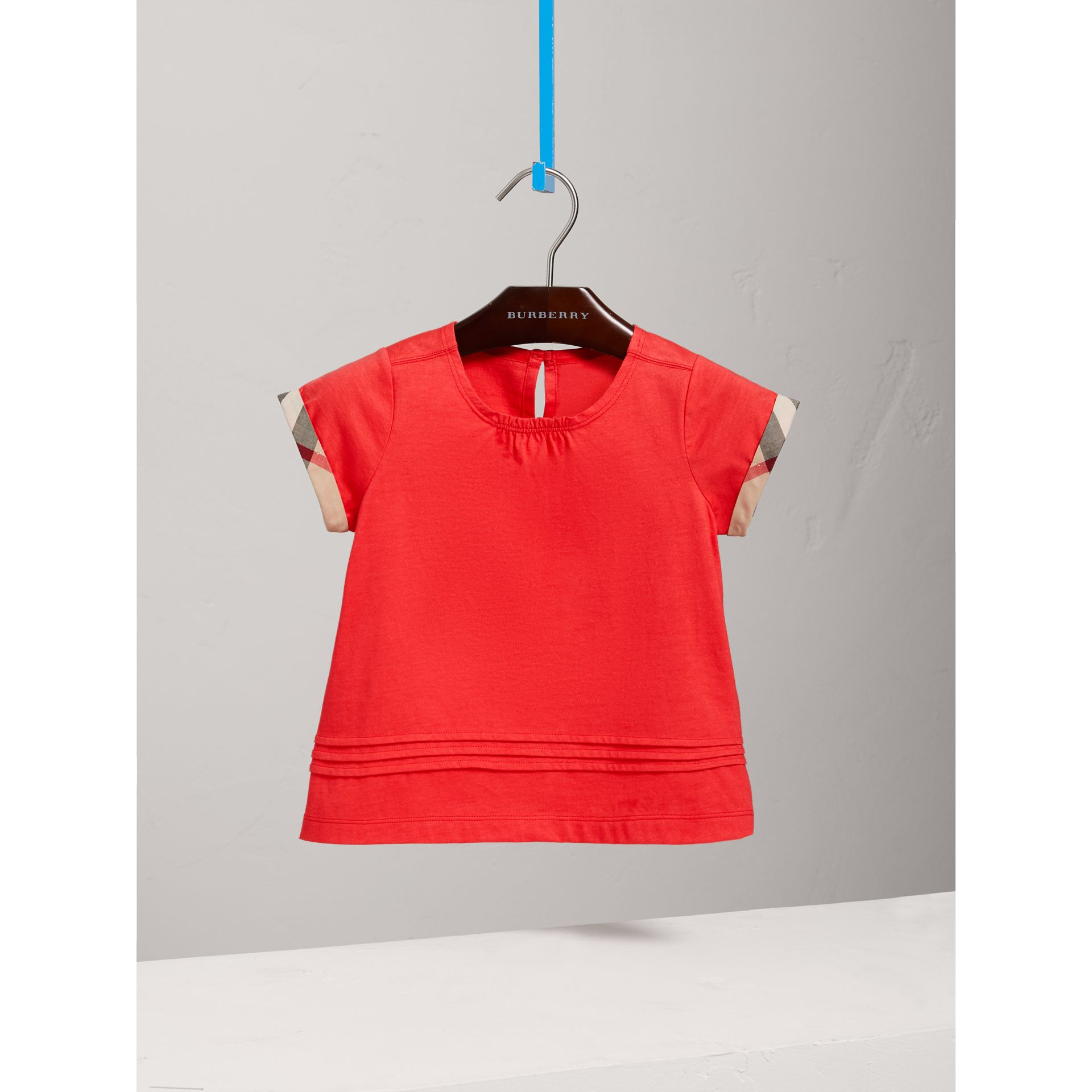 Pleat and Check Detail Cotton T-shirt in Bright Orange Red - Girl | Burberry - gallery image 2