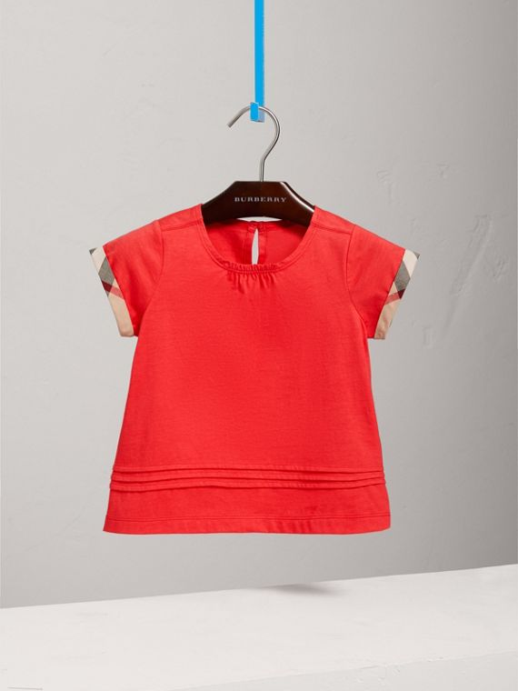 Pleat and Check Detail Cotton T-shirt in Bright Orange Red - Girl | Burberry - cell image 2