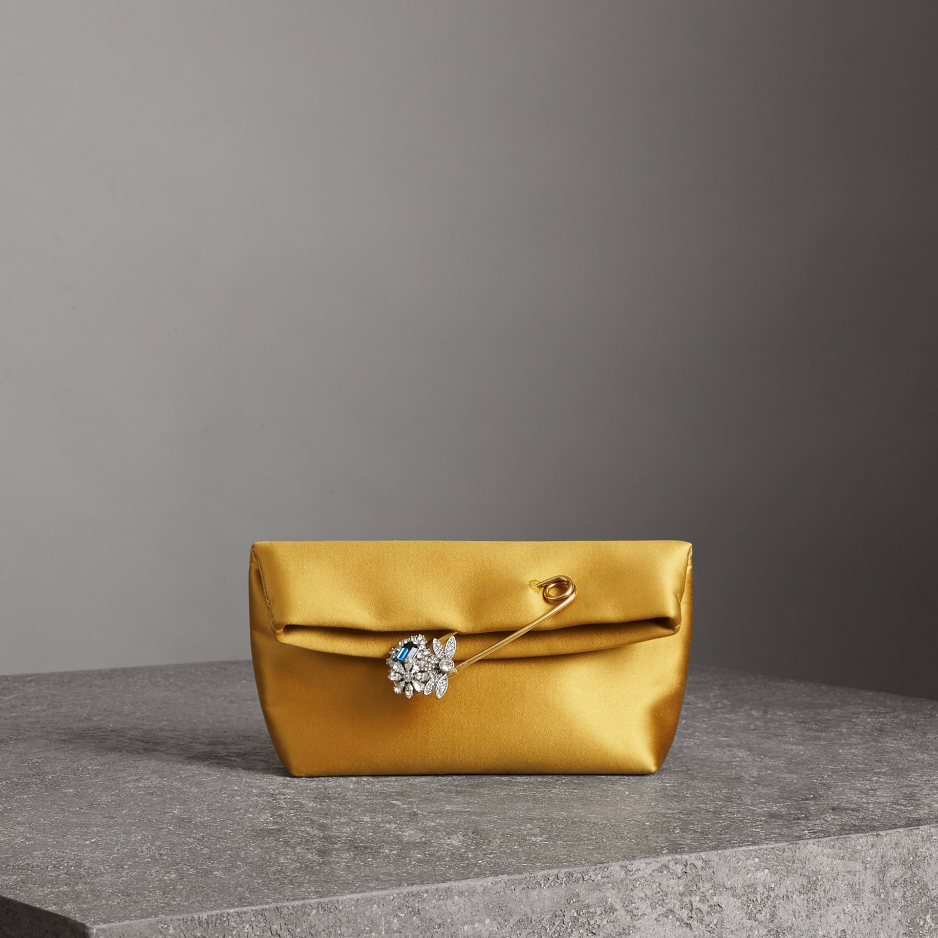 The Small Pin Clutch in Satin in Amber Yellow - Women | Burberry Singapore - gallery image 0