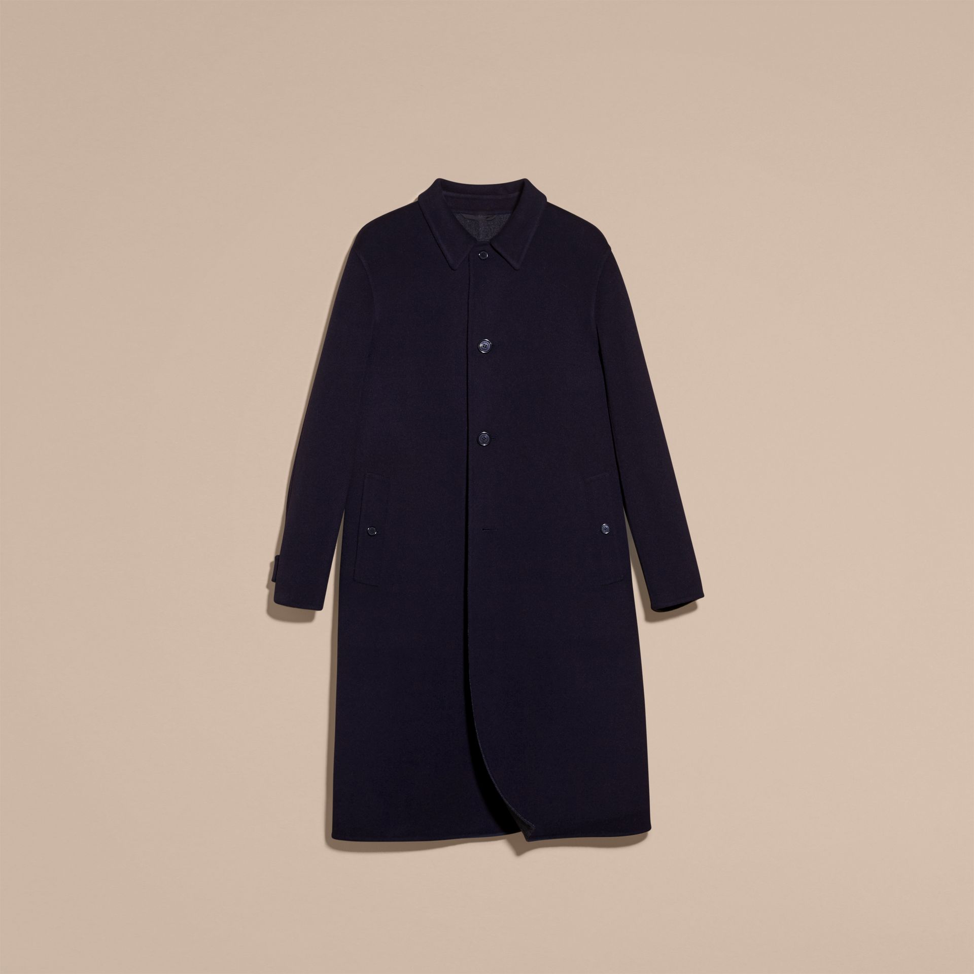 Navy Double-faced Wool Car Coat - gallery image 4