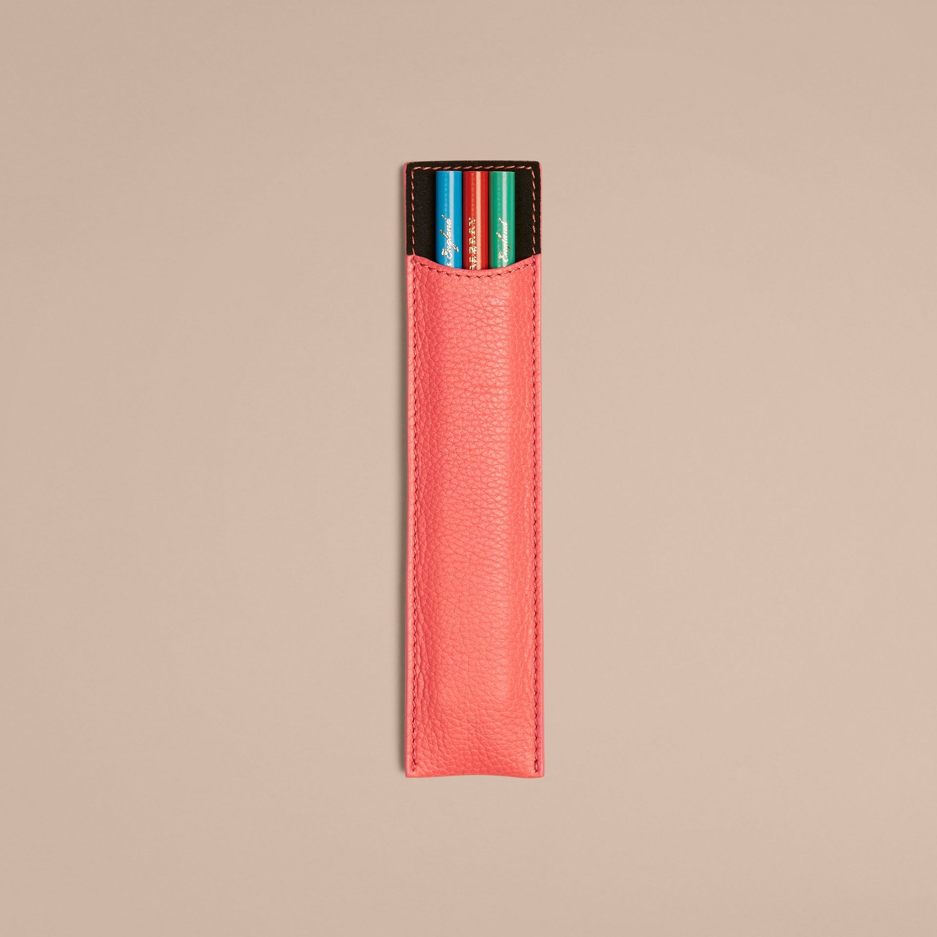 Grainy Leather Pencil Sleeve in Bright Peony | Burberry - gallery image 1