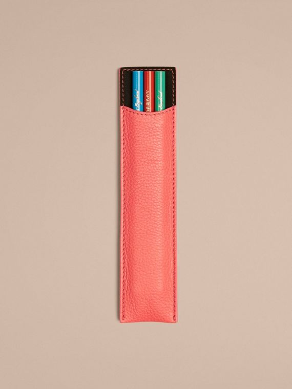 Grainy Leather Pencil Sleeve in Bright Peony