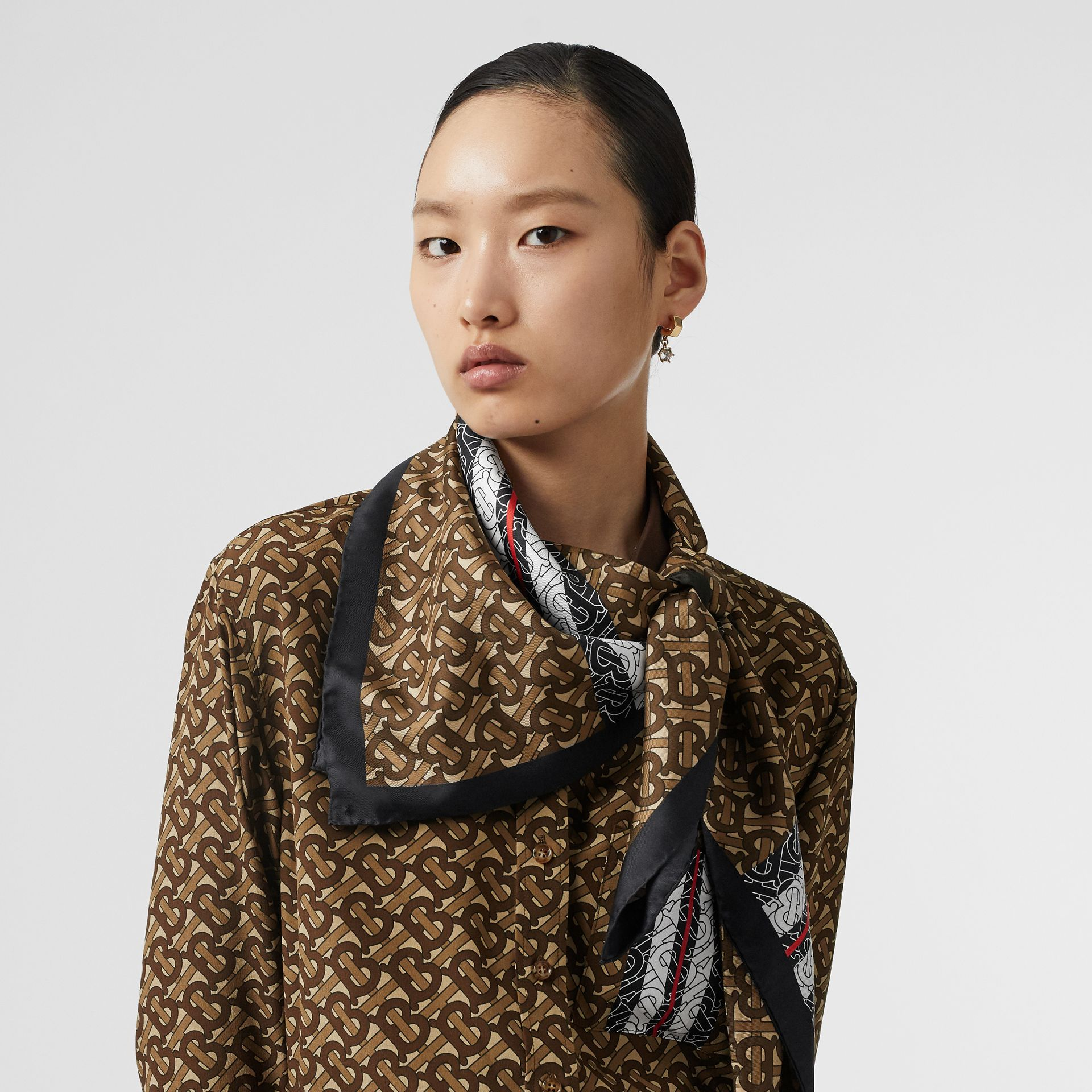 Monogram Stripe Print Silk Square Scarf in Bridle Brown | Burberry - gallery image 1
