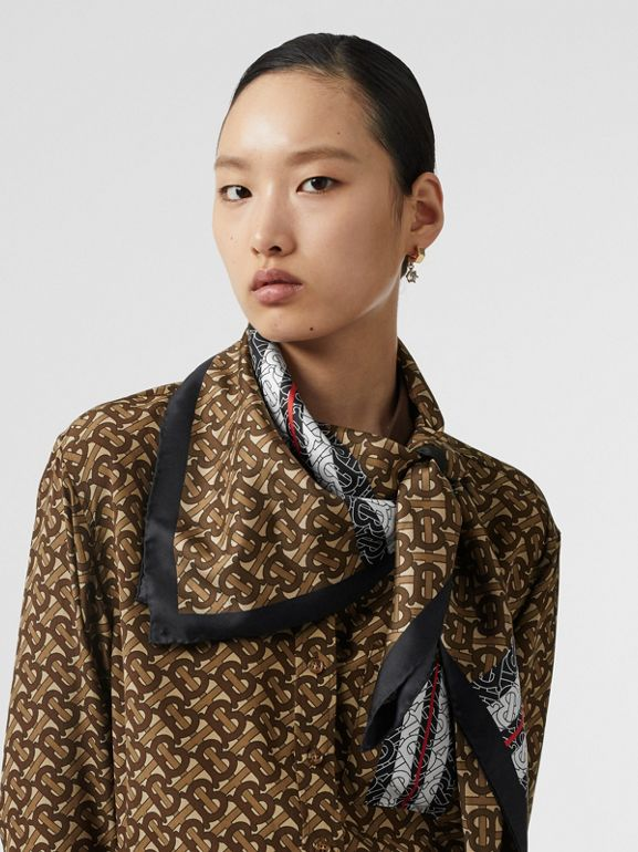 Monogram Stripe Print Silk Square Scarf in Bridle Brown | Burberry - cell image 1