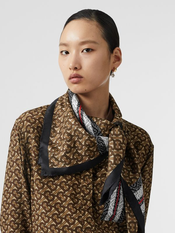 Monogram Stripe Print Silk Square Scarf in Bridle Brown | Burberry - cell image 2