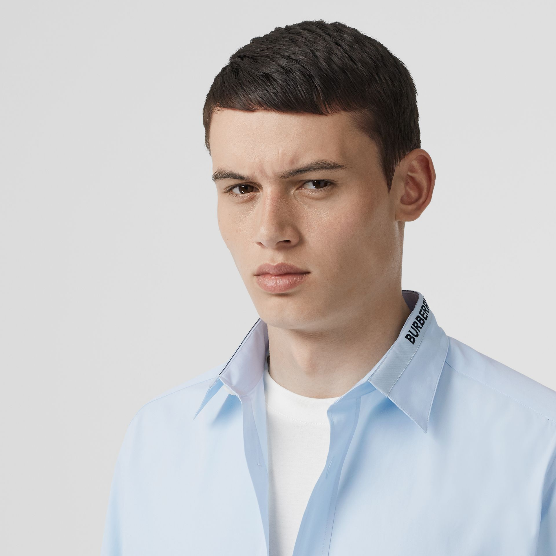 Logo Detail Cotton Poplin Shirt in Pale Blue - Men | Burberry - gallery image 1