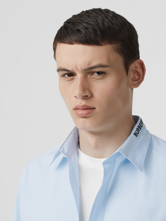 Logo Detail Cotton Poplin Shirt in Pale Blue - Men | Burberry United Kingdom - cell image 1