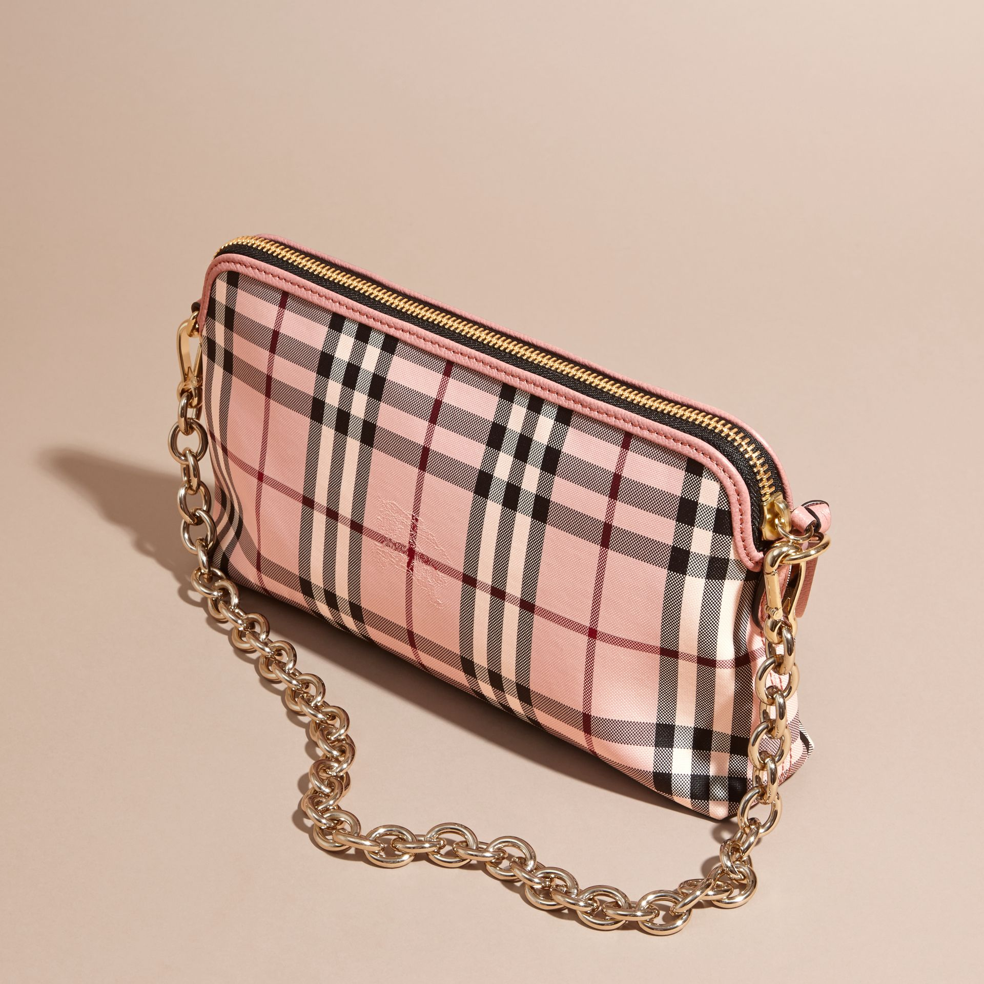 Ash rose/ dusty pink Overdyed Horseferry Check and Leather Clutch Bag - gallery image 5