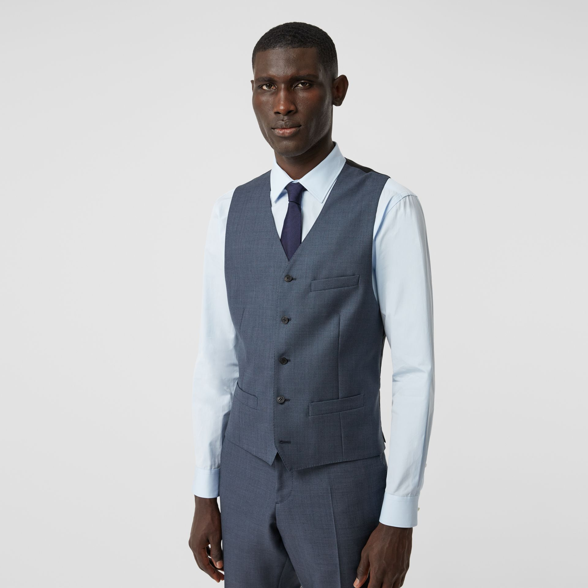 Classic Fit Wool Mohair Blend Three-piece Suit in Steel Blue - Men   Burberry United States - gallery image 6