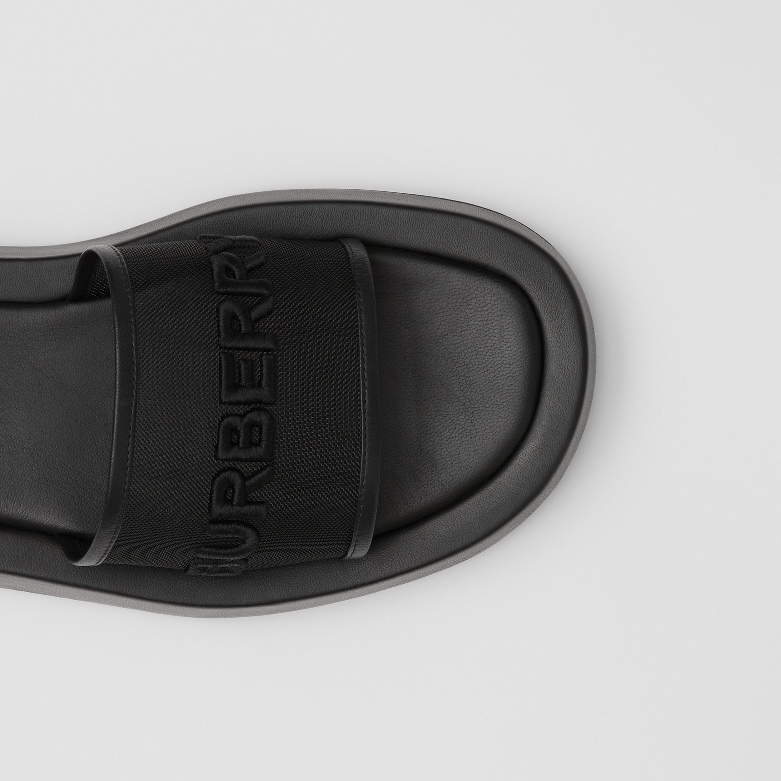 Embroidered Logo Mesh and Leather Slides in Black - Women | Burberry - 2