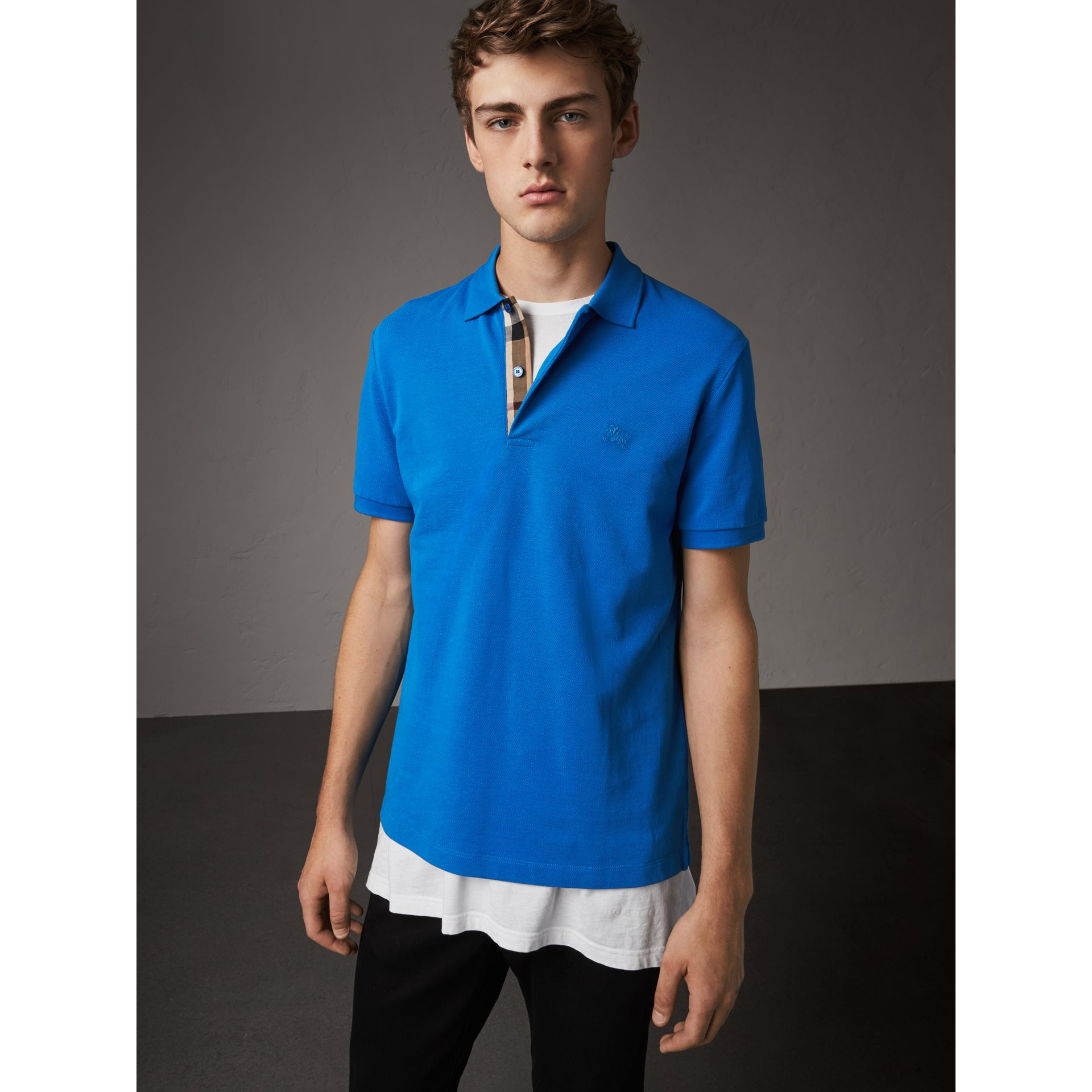 Check Placket Cotton Piqué Polo Shirt in Bright Opal - Men | Burberry Canada - gallery image 1