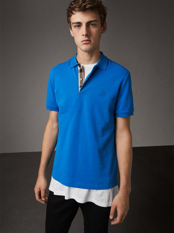 Check Placket Cotton Piqué Polo Shirt in Bright Opal