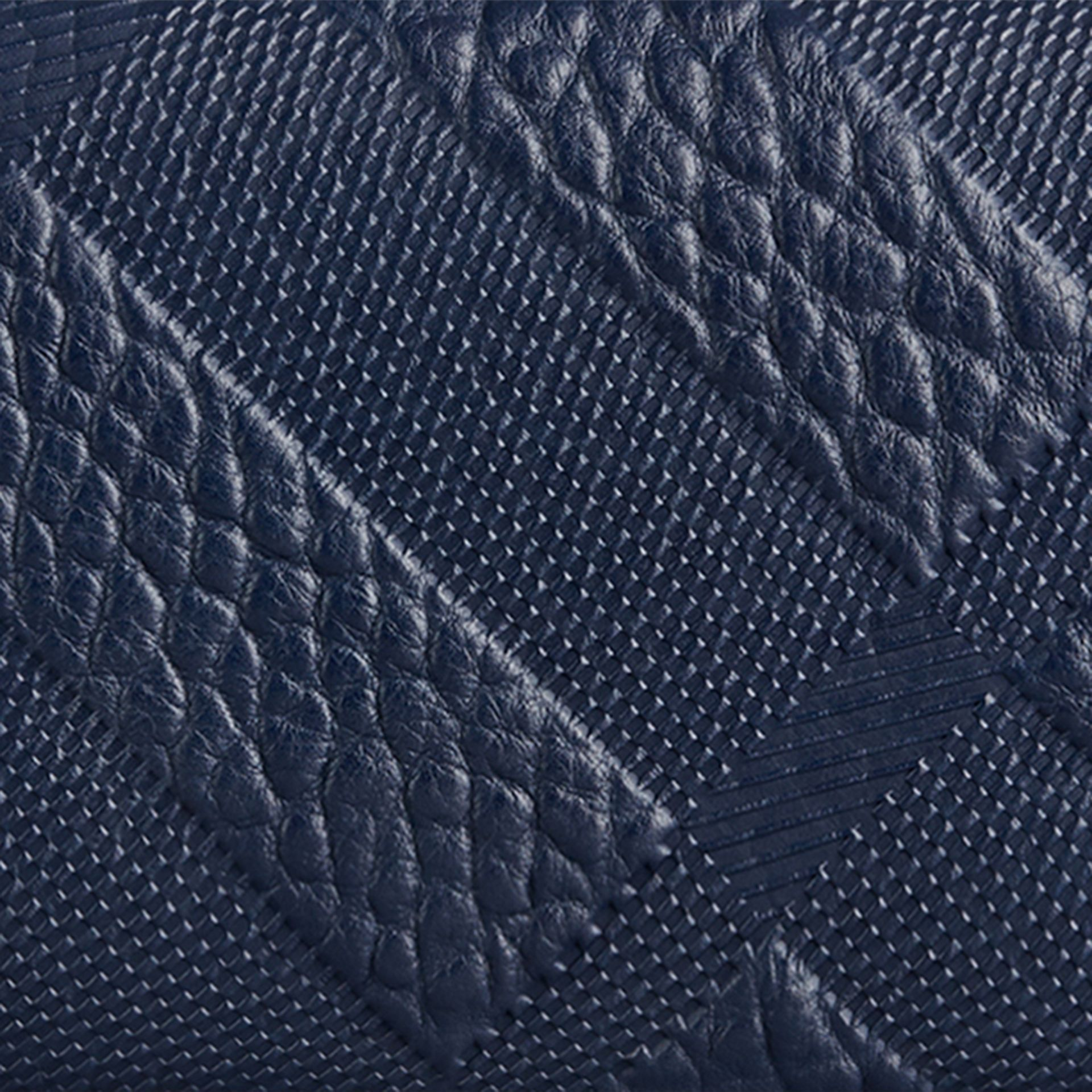 Blue carbon Embossed Check Leather Continental Wallet Blue Carbon - gallery image 2
