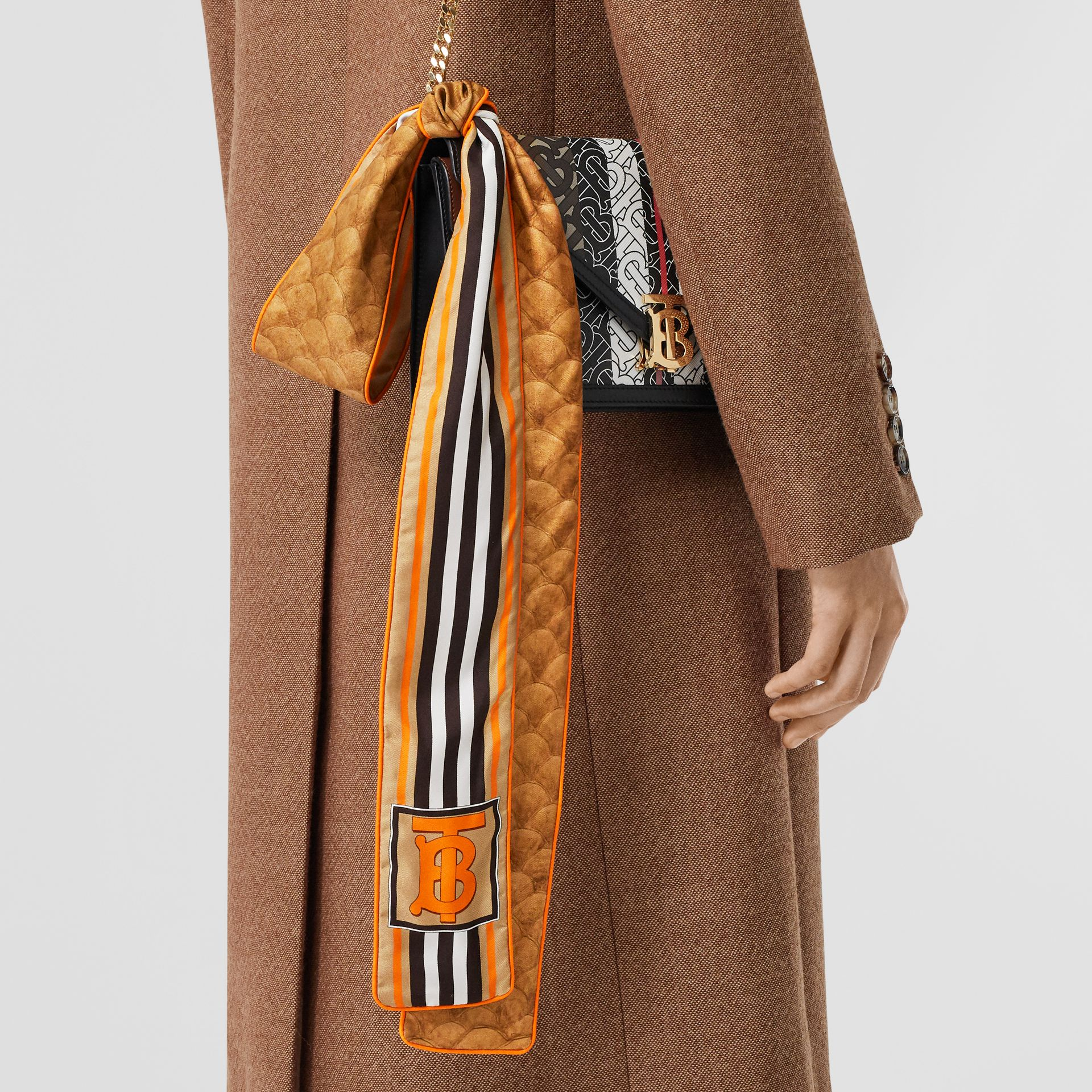 Monogram, Icon Stripe and Fish-scale Print Silk Skinny Scarf in Soft Camel | Burberry Canada - gallery image 2