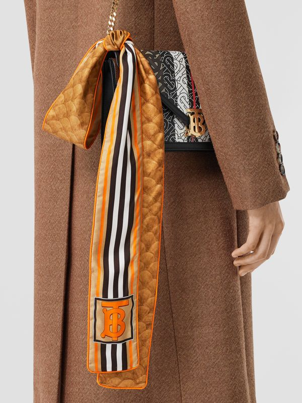 Monogram, Icon Stripe and Fish-scale Print Silk Skinny Scarf in Soft Camel | Burberry - cell image 2