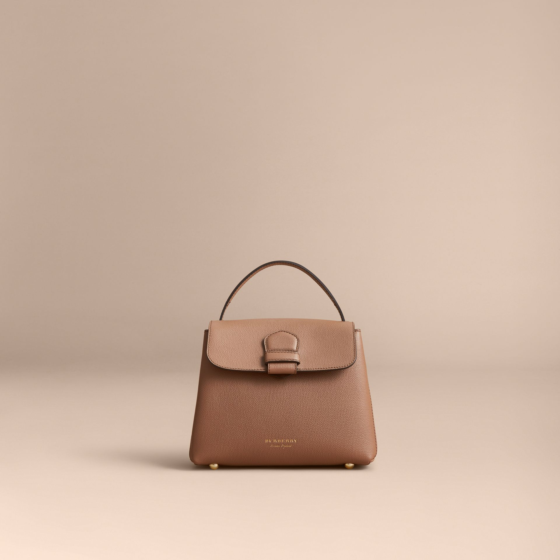 Small Grainy Leather and House Check Tote Bag in Dark Sand - gallery image 6