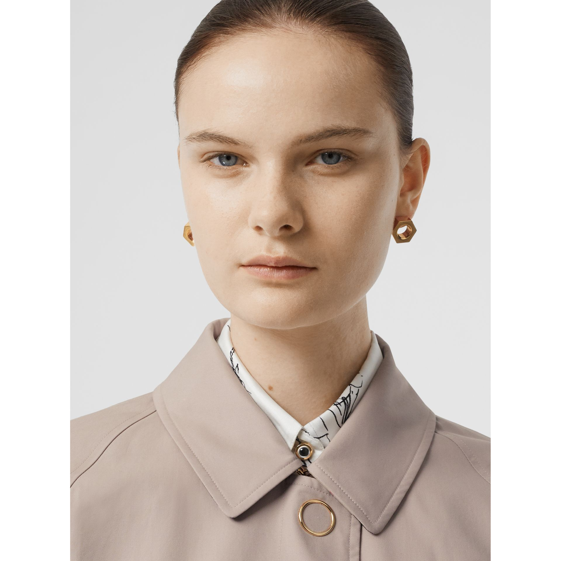 Cotton Gabardine Car Coat in Pale Blush - Women | Burberry United States - gallery image 1