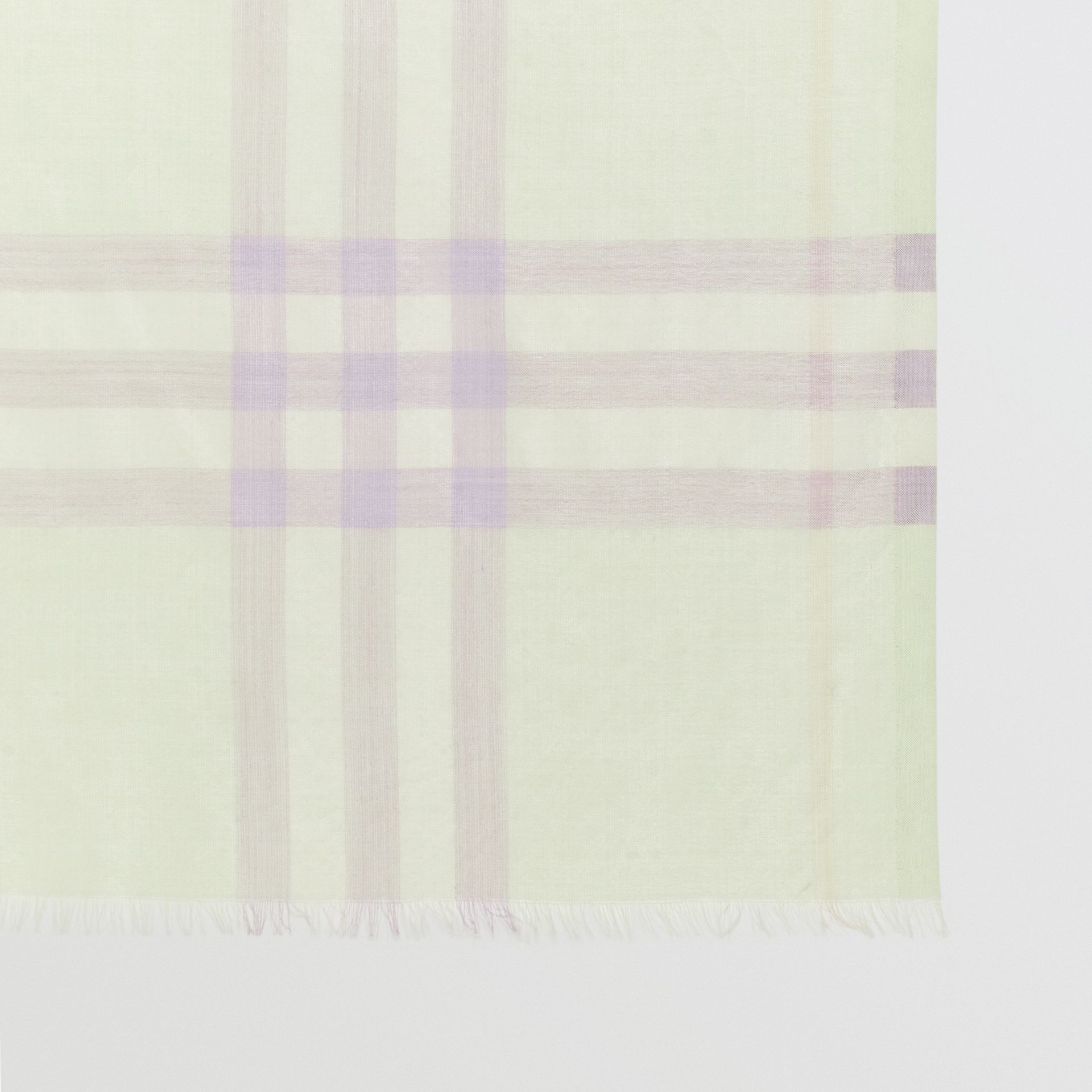 Lightweight Check Wool and Silk Scarf in Limestone | Burberry - gallery image 1
