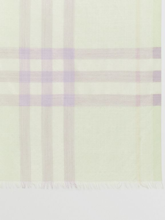 Lightweight Check Wool and Silk Scarf in Limestone | Burberry - cell image 1