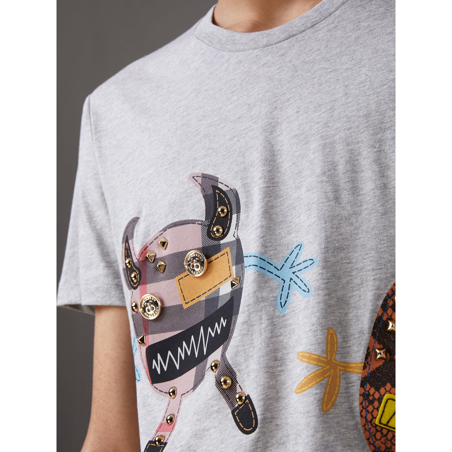 Creature Motif Cotton T-shirt in Pale Grey Melange - Men | Burberry - gallery image 1