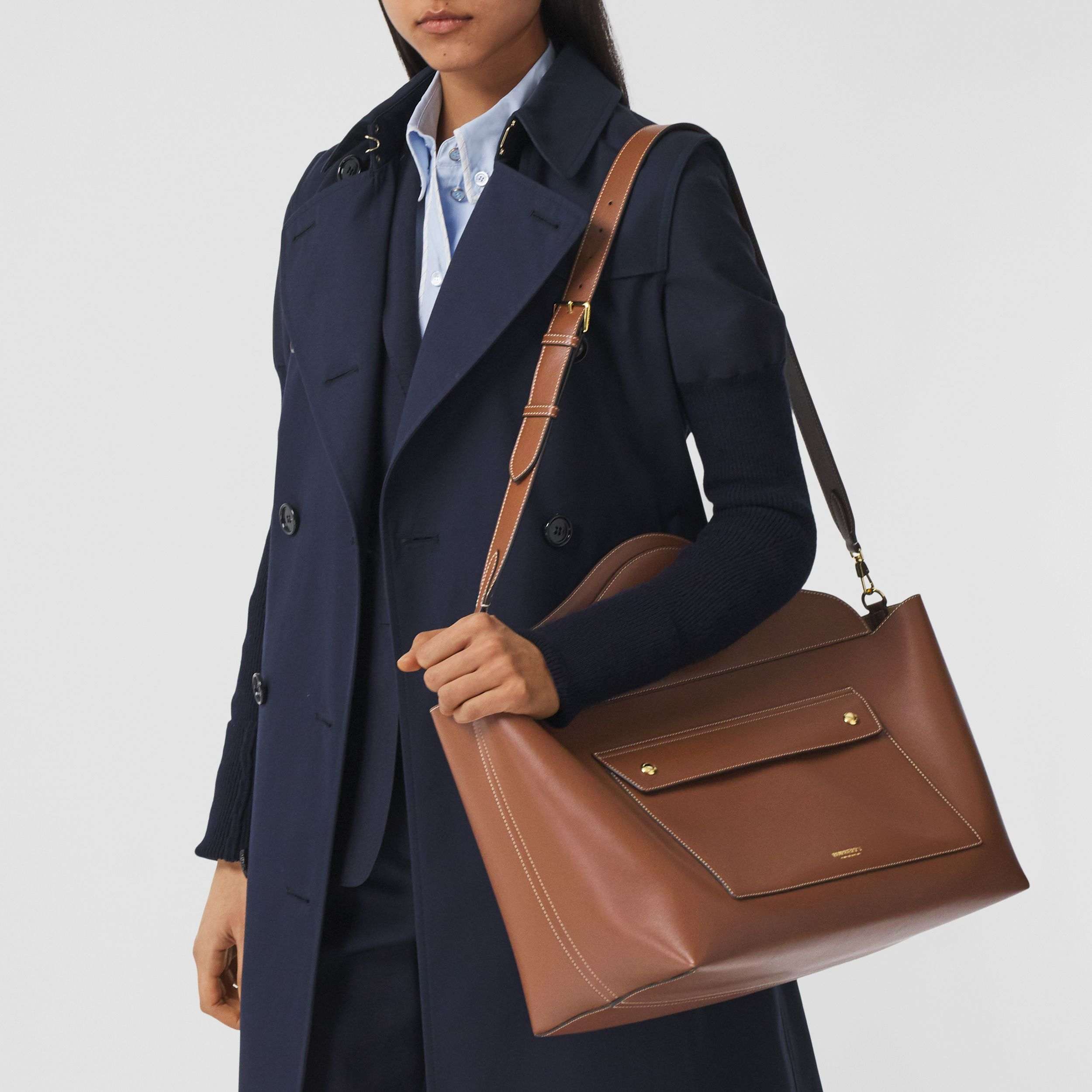 Medium Leather Soft Pocket Tote in Tan - Women | Burberry - 3